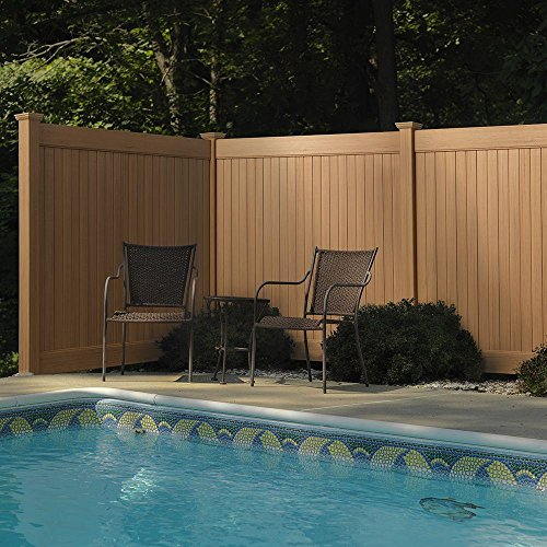 6 ft. H x 8 ft. W Cedar Grove Chestnut Brown Vinyl Privacy Fence - Cedar Lattice 4x8