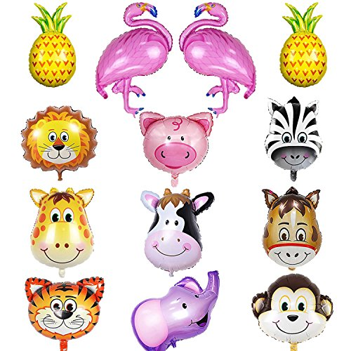 13 Pieces Jungle Safari Animal Balloons with Flamingo and Pineapple Balloons ,22 Inch Giant Zoo Animal Balloons Kit For Jungle Safari Animals Theme Birthday Party Decorations (Jungle Pineapple)
