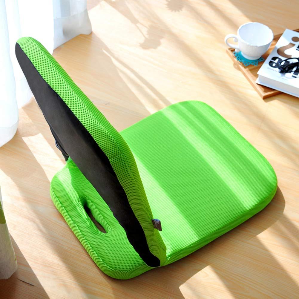 H&U Foldable Floor Chair,Tatami Child Portable Sofa Chair Video-gaming Comfort Lazy Sofa-green 3957cm