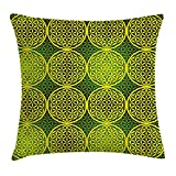 Queen Area Abstract Modern Vivid Flower of Life Meditation Ancient Code Icon Square Throw Pillow Covers Cushion Case for Sofa Bedroom Car 18x18 Inch, Yellow Hunter Green