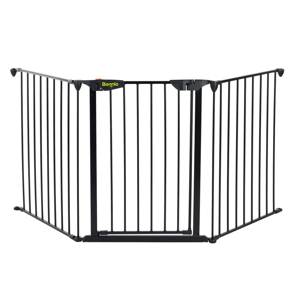 Bonnlo 73-inch Metal Fireplace Fence Adjustable 3-Panel Baby Safety Gate Play Yard for Toddler/Pet/Dog/Cat Christmas Tree Fence Wide Barrier Gate, Black