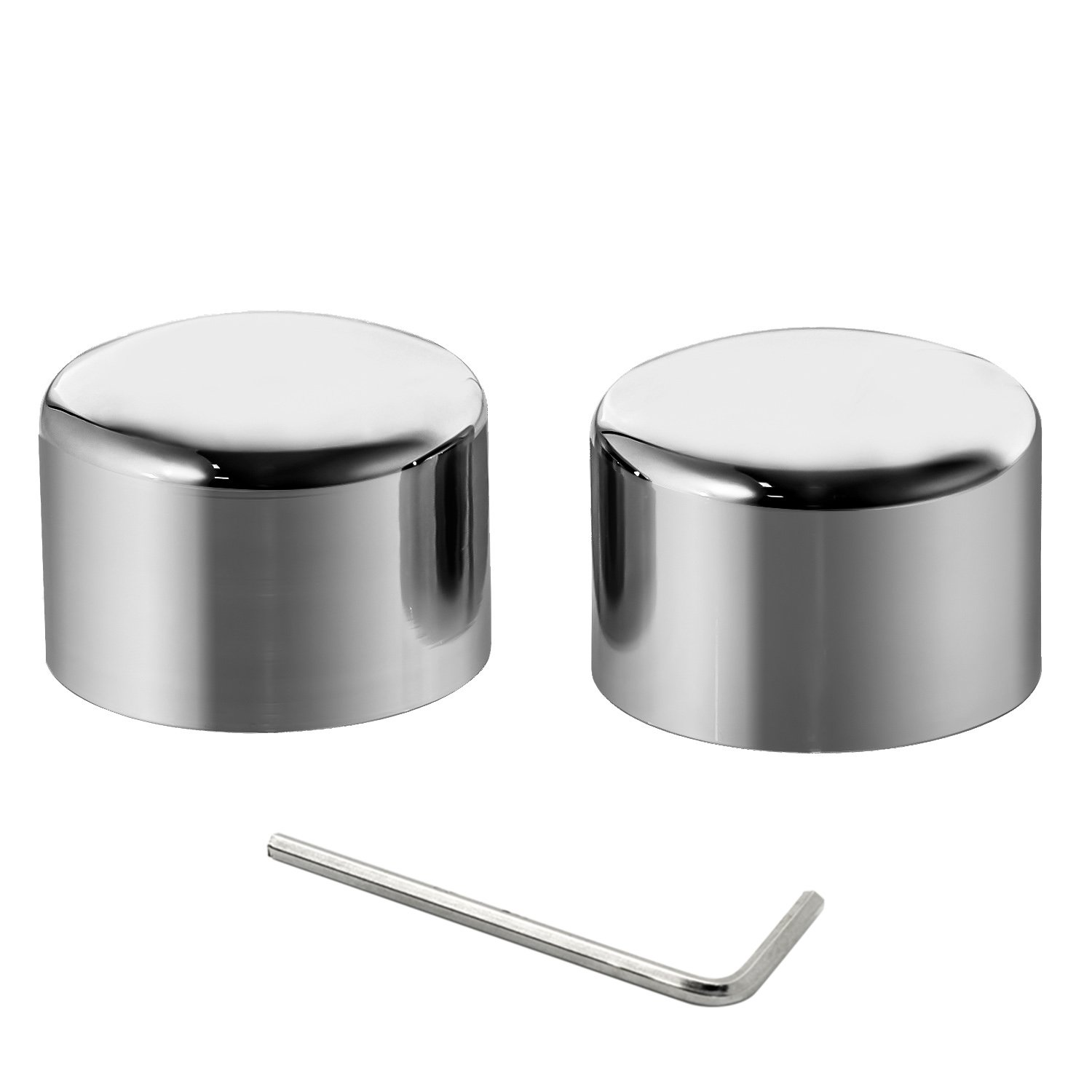 Senkauto Front Axle Cap Nut Cover For Harley Sportster Touring Dyna Touring Softail Electra Street Glide (Chrome 01)