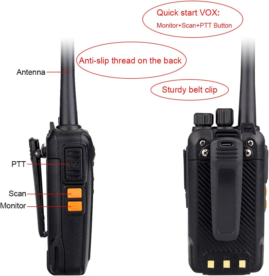 5 Pack Retevis RT27 Walkie Talkeis Rechargeable Long Range 22 CH FRS Hands Free Security Heavy-Duty 2 Way Radios with Earpiece 2 Pin