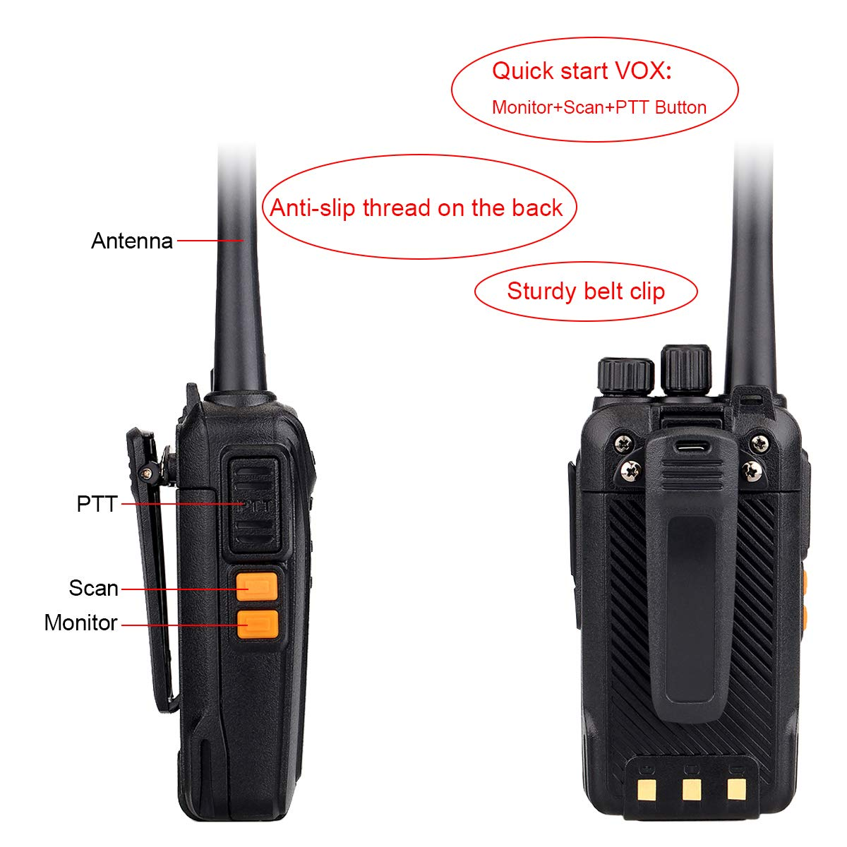 Retevis RT27 Walkie Talkeis Rechargeable UHF Long Range 22 CH FRS Hands Free Security Heavy-Duty 2 Way Radios with Earpiece 2 Pin 5 Pack