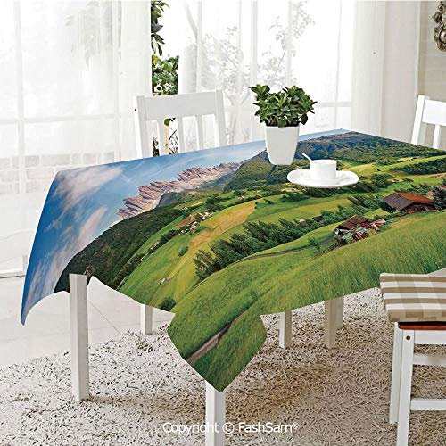 Party Decorations Tablecloth Alps in The Spring with Fresh Grass Sky and Majestic Mountains Mage Art Decor Resistant Table Toppers (W60 xL84) -