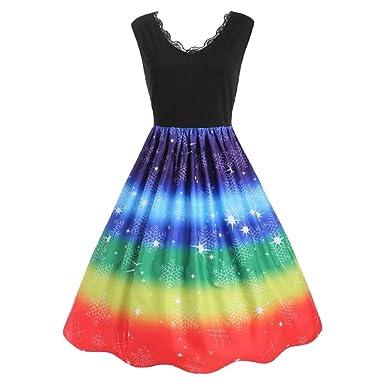 8b106a40075e Amazon.com  WM   MW Fashion Women s Plus Size Dress Christmas Rainbow Print Dress  V-Neck Fit and Flare Cocktail Party Dress  Clothing