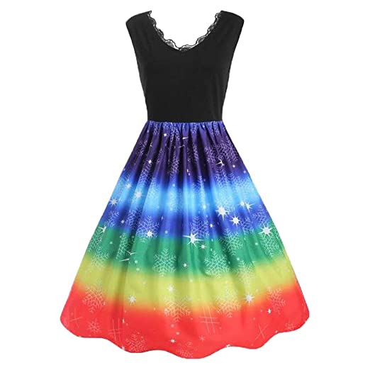 Alalaso Women Vintage Plus Size Rainbow Print Christmas V-Neck Lace Party  Dress