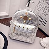 XENO-College Wind Schoolbag Washed PU Leather Backpack Women Rivet Mini Backpack(silver)