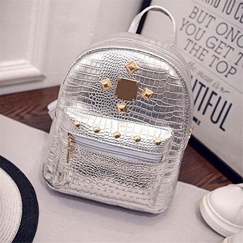Ip Rivets (XENO-College Wind Schoolbag Washed PU Leather Backpack Women Rivet Mini Backpack(silver))
