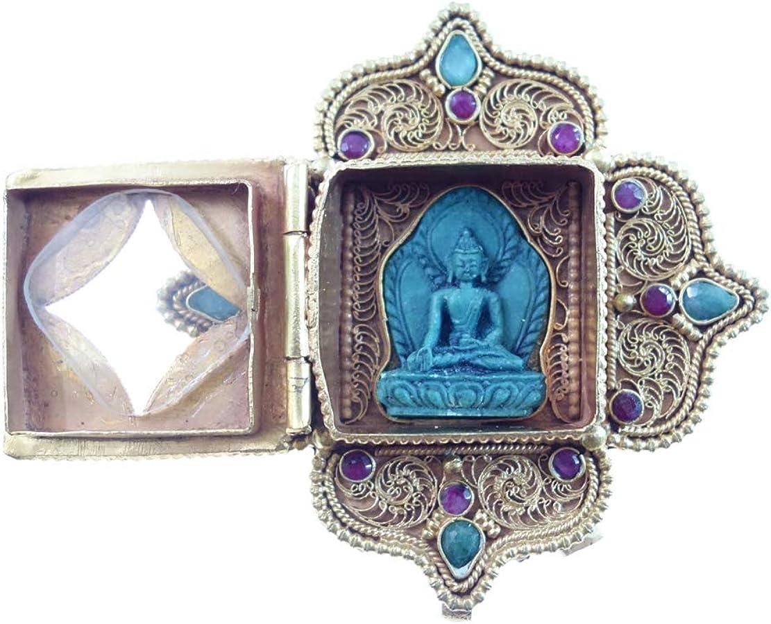 Auténtico Tibetano Étnico Bohemio Hecho A Mano Buda Colgante Para Mujeres, Joyería Filigrana Moda Diseñador, Rubí Esmeralda Turquesa Piedras Preciosas Chapado En Oro Amuleto Curación Por Artesanos