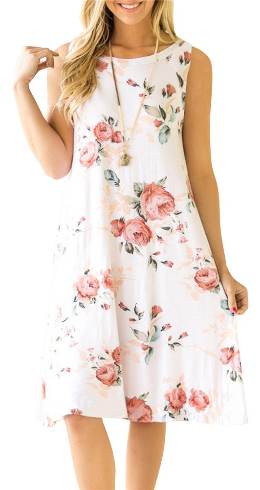 ETCYY Women's Summer Casual Sleeveless Floral Printed Swing Dress Sundress with Pockets White Medium