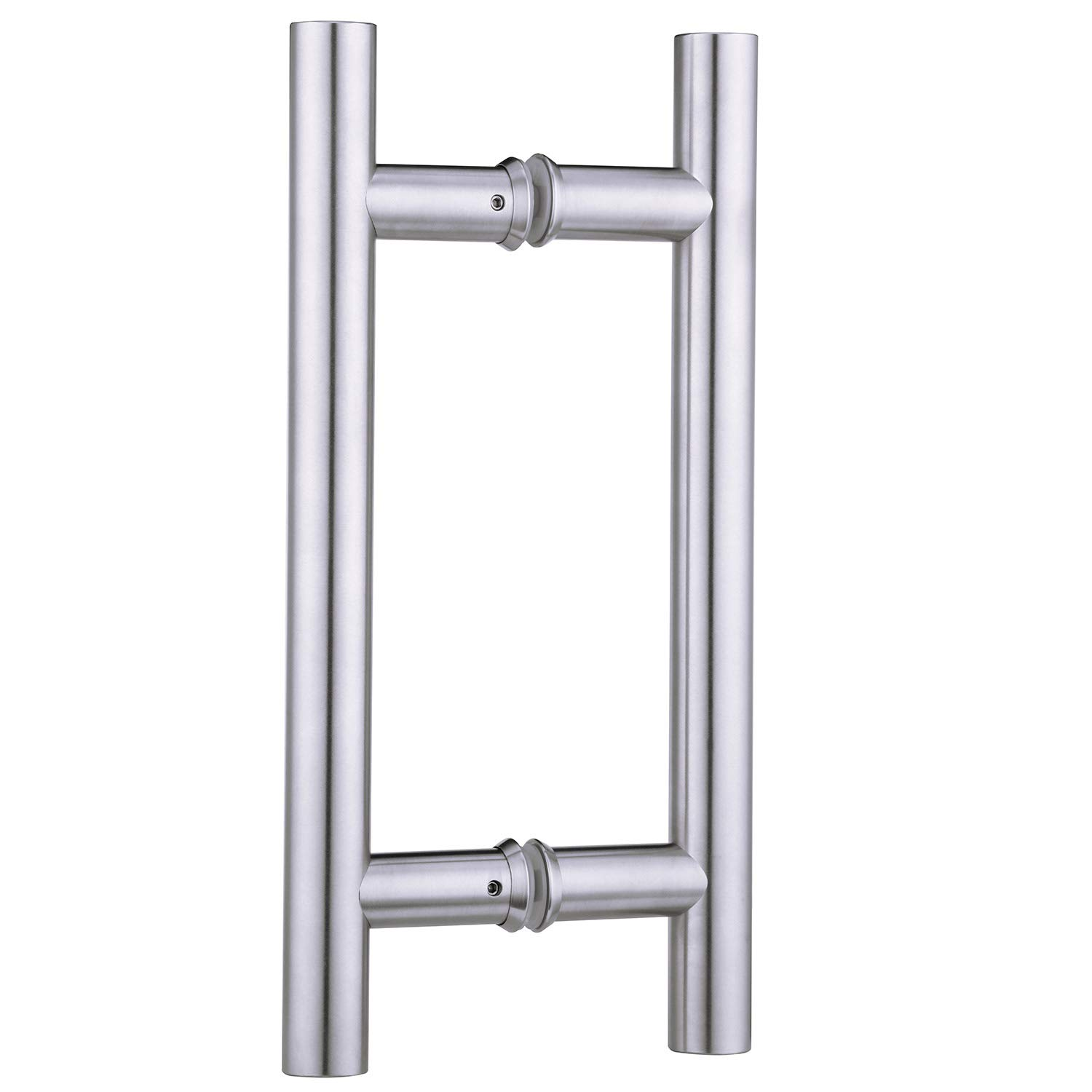 EaseLife 12 Inch Door Handle,Double-Side Door Handle Bar to Bar,H-Shape,Stainless Steel,Sturdy,Round,for Glass Door and Wooden Door,Apply for Interior and Exterior