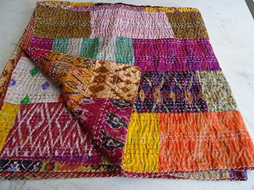 Indian Kantha Quilt, Patola Silk Patchwork Kantha Blanket, Kantha Bohemian Bedding, Reversible Bedsheet / Blanket Decorative Vintage Ethinic 009