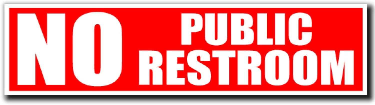 No Public Restroom Sign | Peel and Stick Bathroom Decal Sticker for Door or Window | (8 x 2 inches) Perfect Office or Business | Works on Glass Metal or Any Smooth Surface | Red and White (1)