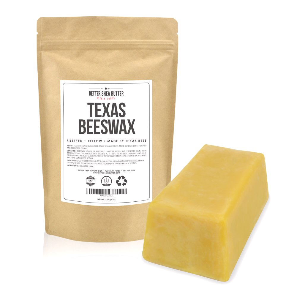 Yellow Beeswax 1 LB block, 100% Natural, from Texas Beekeepers - Smells Like Honey, Filtered, Clean, Perfect to Make Candles, Lip Balms and Lotions - by Better Shea Butter
