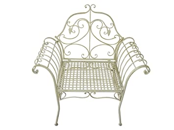 Fauteuil Chaise Jardin Metal Fer Forge Baroque Shabby Chic Patine Blanc Vintage