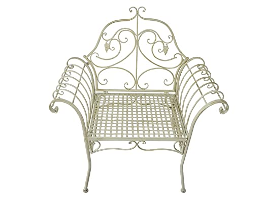 Blanco STUL para jardín con metal en estilo vintage 98 x 93 ...