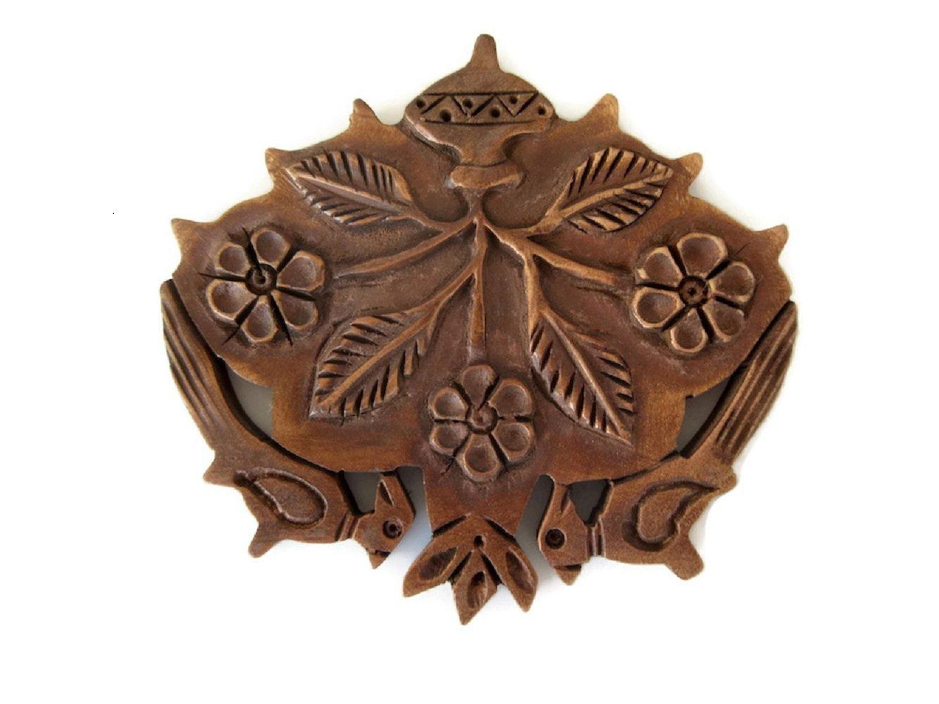Hand Carved Teak Wood Flower Parrot Pendant, Handmade Flower Pattern Pendant/Necklace,GDS1046/16 (5 Pieces)