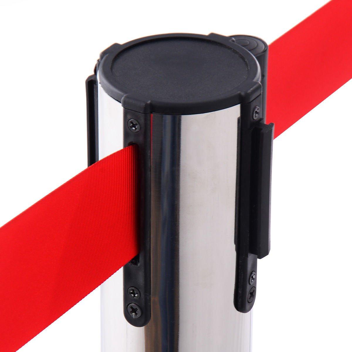 6 Pcs. Belt Retractable Crowd Control Stanchion Barrier Posts Queue Pole, Red by Alek...Shop (Image #9)