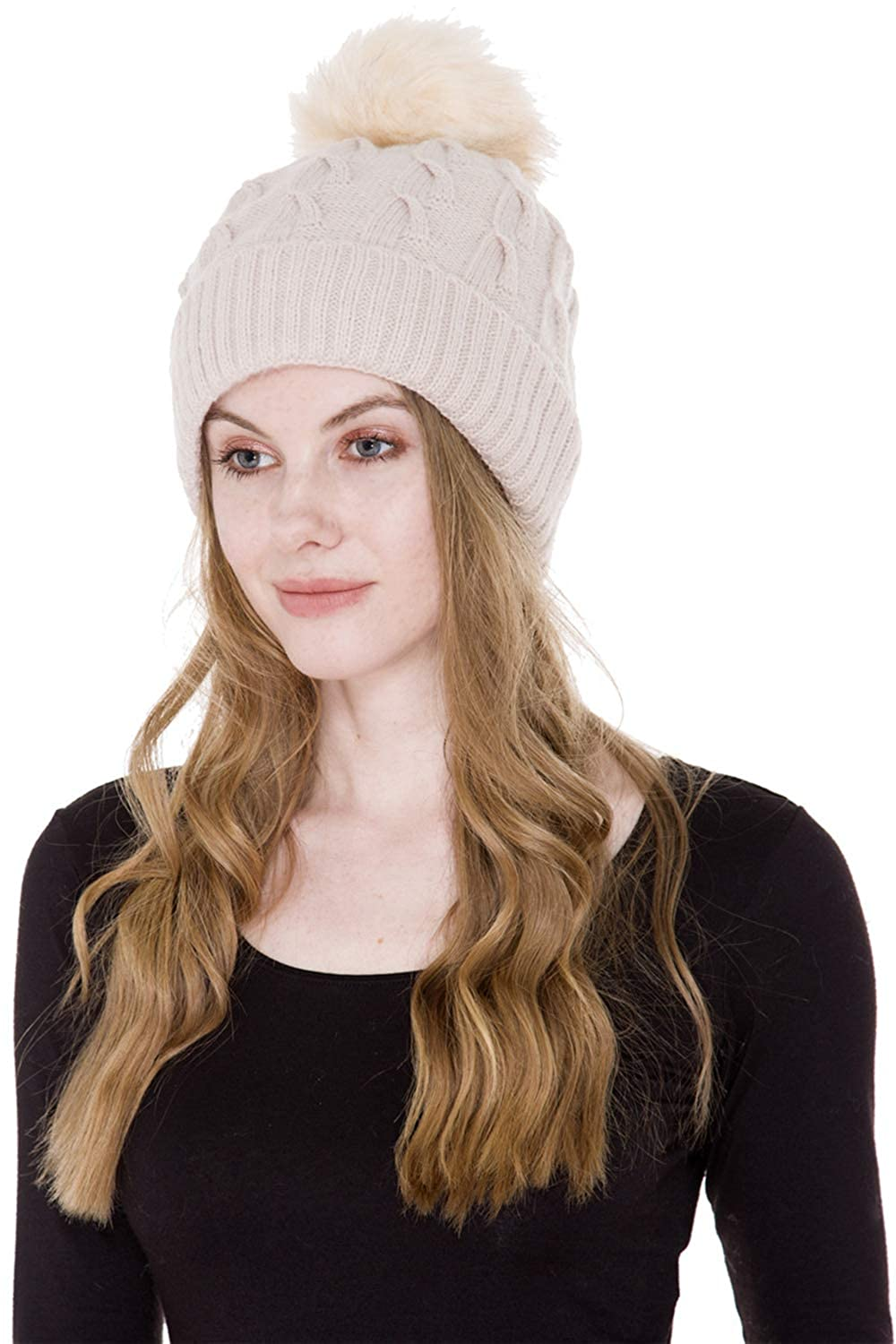 Janice Apparel Women s Winter Plain Color Cable Knit Beanie Hat Faux Fur  Pom Pom and Sherpa Lined (Beige) at Amazon Women s Clothing store  f23c75157