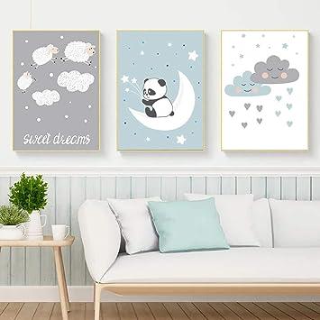 JTM Panda Mignon Mouton Mur Photos pour Salon Nuages Blancs Nordique ...