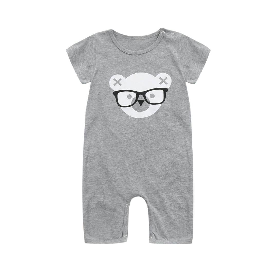VENMO Cartton Bears Print Infant Baby Romper Newborn Boys Girls Short Sleeve Romper Jumpsuit Outfits Clothes for 3-12 Months Baby