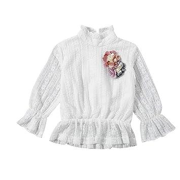 6cab2a02d018c AIKSSOO ベビー服 ブラウス トップス 長袖 女の子 秋 レース おしゃれ size 80 (ホワイト)