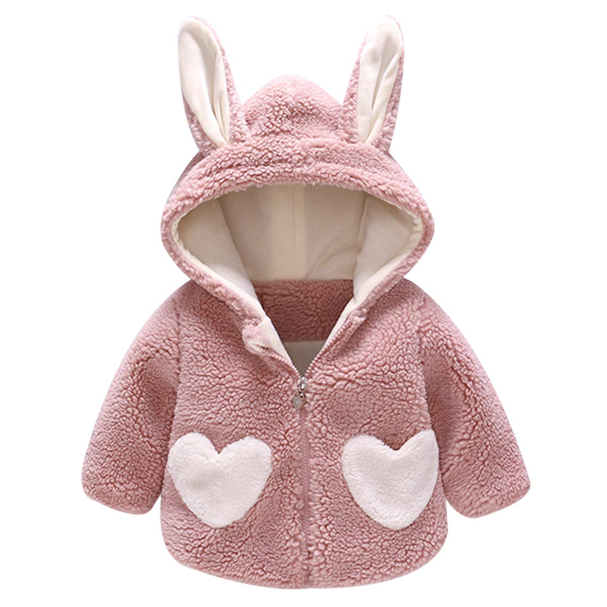 Kanodan Baby Girls Pretty Heart Fleece Jacket Winter Warm Pink Coat for Toddlers