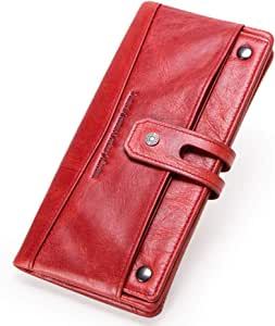 Leather Wallets for Women, Bifold Wallets for Women, Womens Leather Wristlet Wallet Clutch, Retro Long Section Credit Card Wallet with ID Window,Red