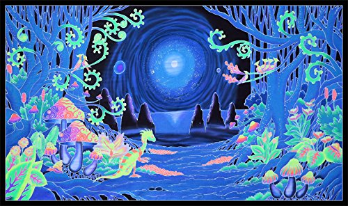 (Psychedelic Tapestry 'Space Jungle' - Hand-Painted and Silkscreen Batik Wall-Hanging - UV Active Wall-Hanging -Trippy Wall Art - Black Light Active Trippy Tapestry - Fantasy Tapestry)