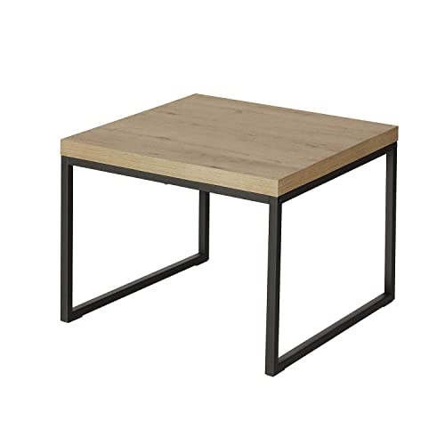 WLIVE Modern Side Table End Table, Square Sofa Table with Metal Frame, Coffee Table for Living Room Garden, Easy Assembly