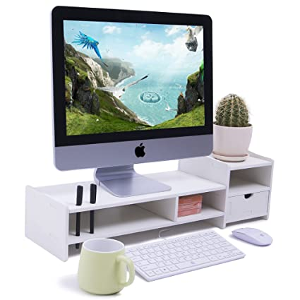 Amazon Com Yumu Diy Computer Monitor Stand Riser With Drawers
