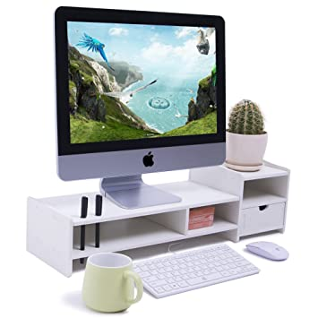 Yumu Diy Computer Monitor Stand Riser With Drawers Waterproof Mildew Desktop Storage Cy1076