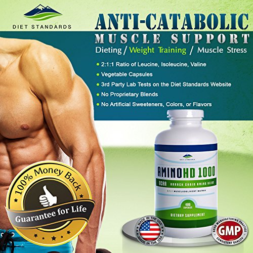 Diet Standards BCAA Capsules, 1000mg, 400 Count. GMP Certified, 3rd Party Tested. Natural Veg Caps. Highest Quality BCAA Supplement, Amino Acids For Men And Women. 100% Guaranteed Or Your Money Back.
