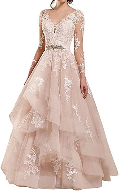 XPLE A line Long Sleeves V Neck Lace Ruffle Tiered Wedding Dress Bridal Gown
