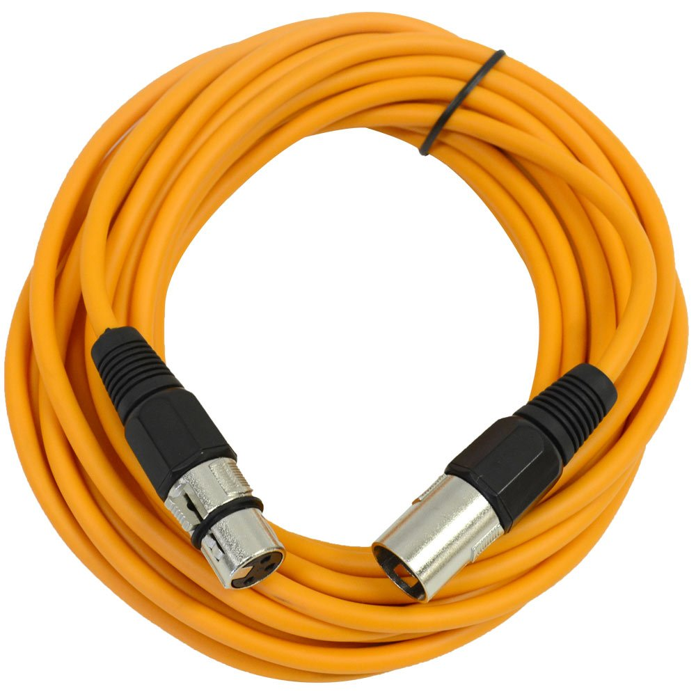 Seismic Audio-SAXLX-25-25-Feet Orange XLR Male to XLR Female Microphone Cable-Balanced-25 Foot Patch Cord SAXLX-25Orange