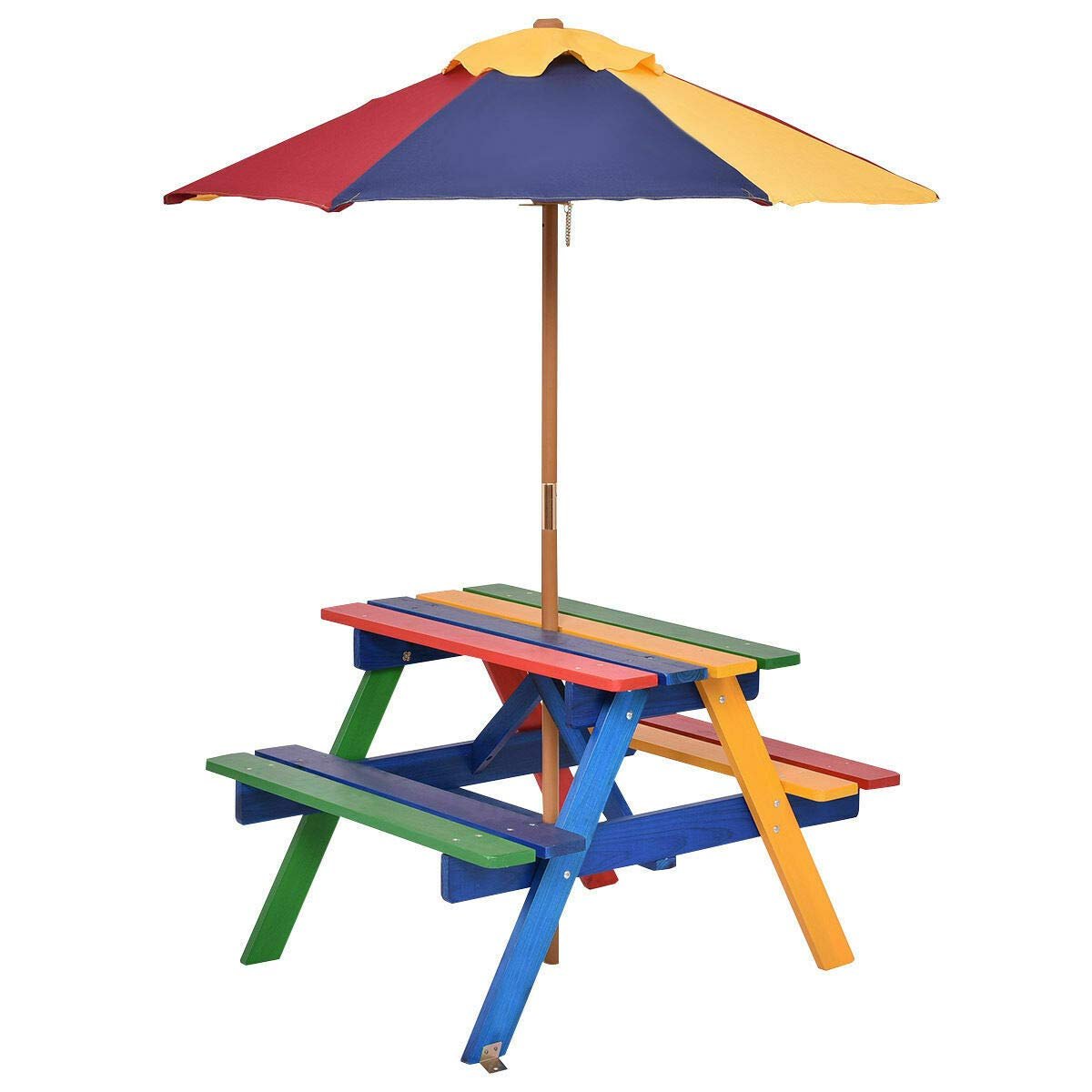Heavens Tvcz Beach Table Kids Picnic w/Umbrella Portable Premium Eco-Friendly Yard Folding Children Garden Outdoor 4 Seat for Play and Relax with This Wooden Picnic Table Set