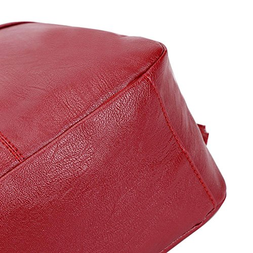 Women Pure PU Leather Soft Red Travel Girls Backpack Color Bag College Wine Domybest Shoulder FfwdF