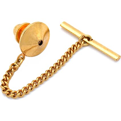 3548b3c9bd7e Amazon.com: Generic Gold Plated Pin Back With Tie Tack Clutch Chain New:  Toys & Games