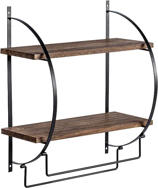 Organize It All 1753W-B Chrome Two-Tier Shelf With Towel Bars