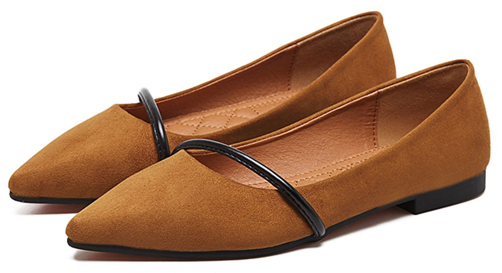 QZUnique Women's Pointy Toe Slip on Ballet Comfort Multi Color Suede Shoe Flat B073VJ1ZHM 8 B(M) US|Brown
