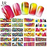 12 sets FLORESENT LUMINOUS Tie Dye party retro Rainbow trippy NAIL DECALS hippy psychedelic decor bohemian flower child NAIL VINYLS hippie decor NAIL STICKERS lava lamp nail art kit