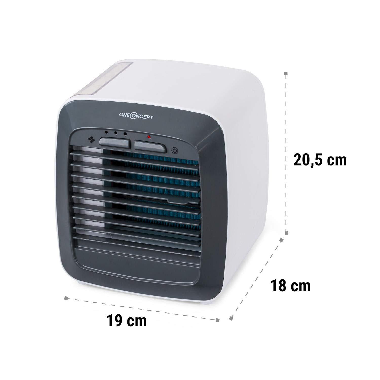 600 ml /• 3 Funktionen befeuchter und Luftk/ühler oneConcept IceCube Air Cooler /• 6W /• Wassertankvolumen reiniger /• 3 Windgeschwindigkeiten /• Gentle Cool Technology /• 2 K/ühlakkus /• LED-Licht /• wei/ß