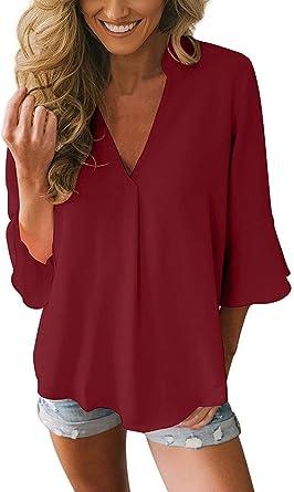 Blusas Chiffon Mujer Elegante Talla Grande Camisetas Manga Larga V Cuello Primavera Verano Tunicas Señoras Camisas Anchos Basicas Tops Unicolor
