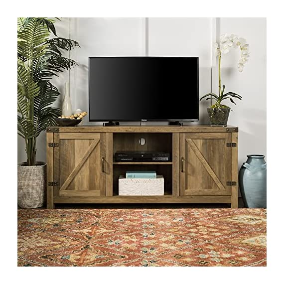 Home Accent Furnishings New 58 Inch Barn Door Television Stand (Rustic Oak, 58 Inch) - Fun Farmhouse design High grade MDF and laminate construction Weight capacity of 250 lbs. - tv-stands, living-room-furniture, living-room - 61e50QWu AL. SS570  -