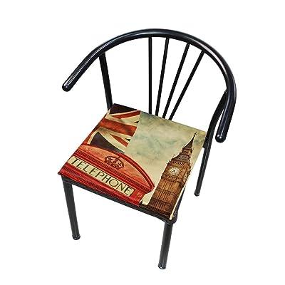 Bardic FICOO Home Patio Chair Cushion Vintage UK Flag Square Cushion Non-Slip Memory Foam Outdoor Seat Cushion, 16x16 Inch: Home & Kitchen