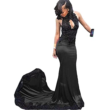 Black Turtle Neck Mermaid Prom Dress