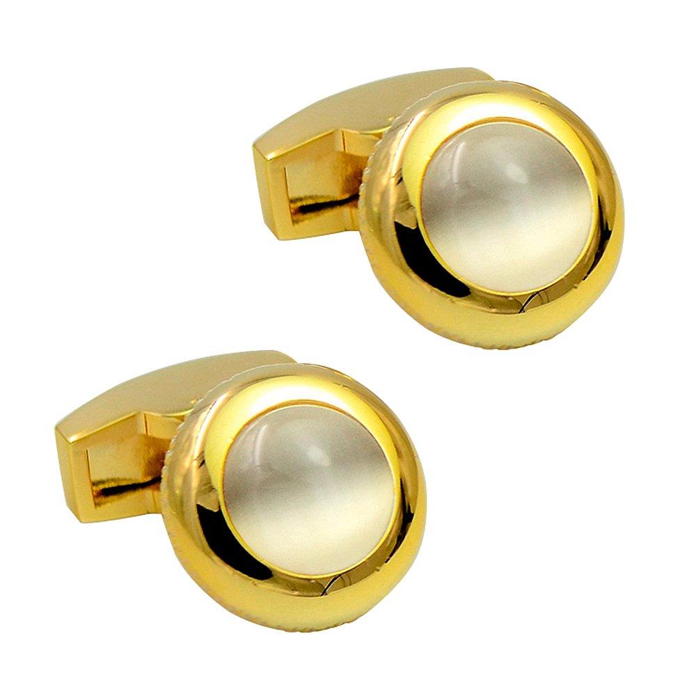round cat eye stone cufflink gold-plated whale back cufflink exquisite elegant brass cufflinks Daptsy