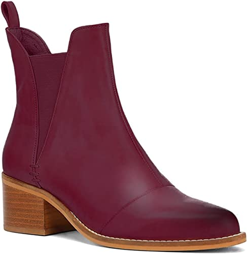 Women/'s Chunky Block Mid Heels Ankle Boots Casual Buckle Chelsea Booties Shoes