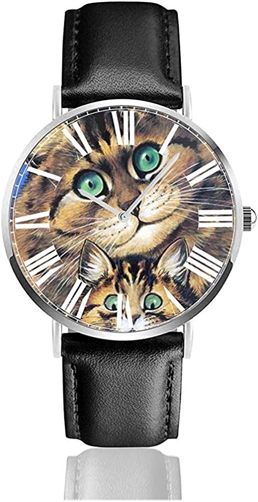 Reloj de Pulsera Mosaico de Azulejos mullidos de Louis Wain Pet Kitten Matte Classic Casual Quartz Black Leather Strap Watch